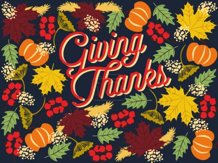 Illustration for Thanksgiving greeting or invitation card with holiday elements on dark blue background. Vector and illustration design. - Royalty Free Image