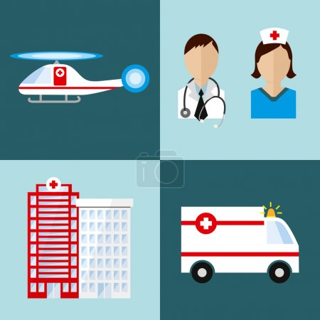 Illustration for Flat medical elements and people. Vector and illustraton design. - Royalty Free Image