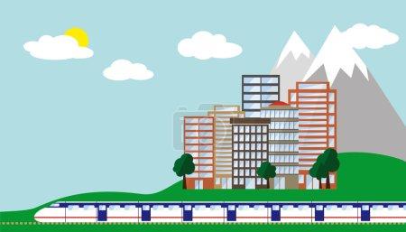 Photo pour Voyage urbain avec train, ville et montagne. Vecteur . - image libre de droit