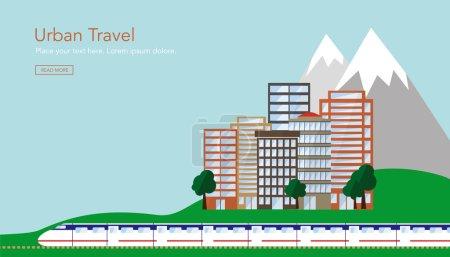 Photo pour Voyage urbain avec train, ville et montagne. Conception vectorielle et illustraton . - image libre de droit