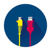 Network and internet cable on blue background Vector and illustration design