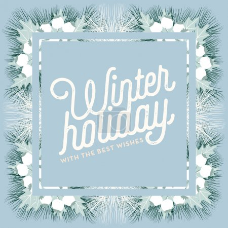 Winter Holiday greeting card with blue banner and frame.