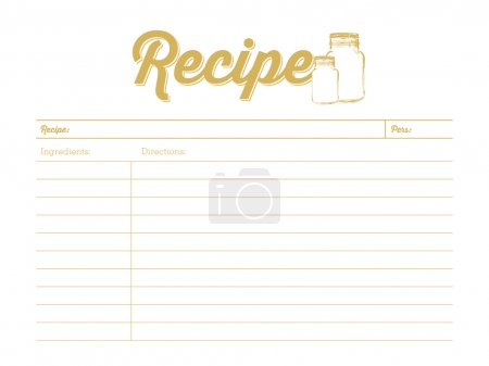 Golden colored recipe card with mason jar. Template.