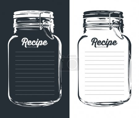 Mason jar with hook recipe card and lines. Template.