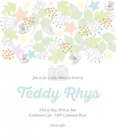 Baby shower invitation card with hand drawn elements.
