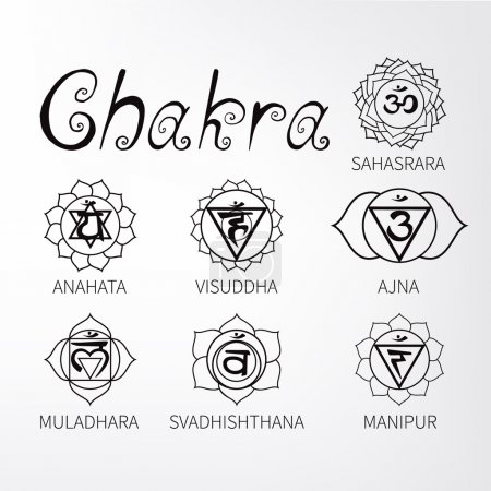 Illustration for Chakra. Energy centers of the human. Icons. - Royalty Free Image