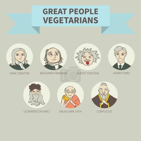 Photo pour Gens formidables - végétariens. Végétarisme. Icônes. - image libre de droit