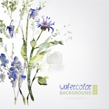 Background texture of watercolor. Postcard wildflo...