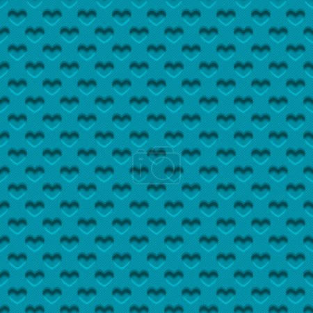 Illustration for Seamless background in the form of a perforated plastic sheet in hearts - Royalty Free Image