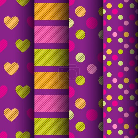 Illustration for Set of four colorful retro seamless patterns with hearts, stripes and polka dots on a purple background - Royalty Free Image