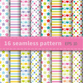 Set of 16 colorful seamless patterns with flowers stripes hearts and dots