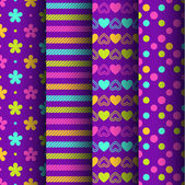 Set of four colorful retro seamless backgrounds with flowers stripes hearts and dots