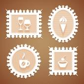 Frames with desserts and drink