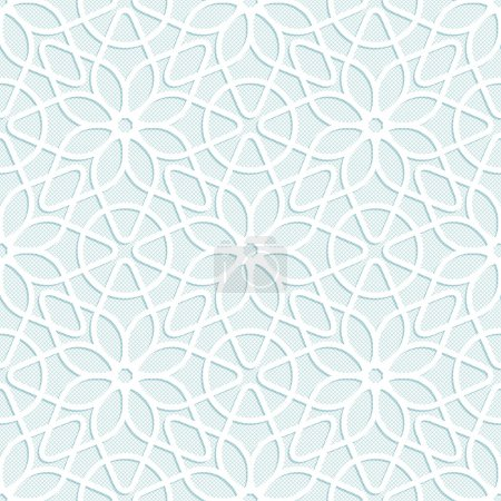 Illustration for Light seamless texture convex white lace floral pattern in oriental style - Royalty Free Image