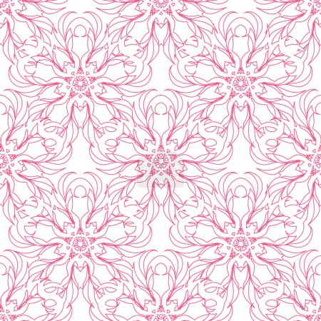 Floral pink ornament on white background