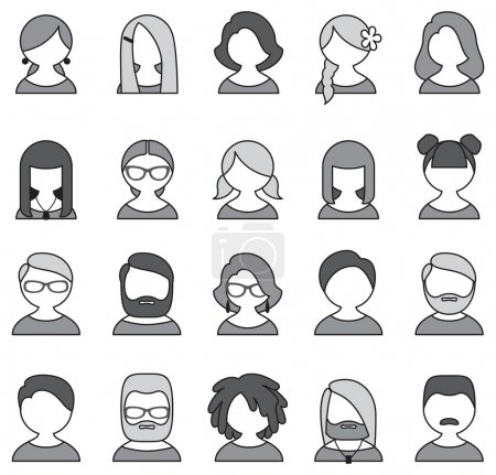 Collection of 20 monochrome user icons