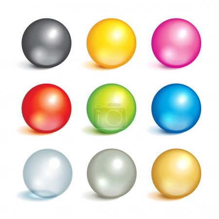 Illustration for Bright collection of colorful balls of different colors and material, metal, glass, silver, gold. - Royalty Free Image