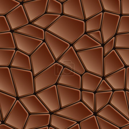 Illustration for Seamless abstract brown chocolate texture mosaic pattern or tile - Royalty Free Image