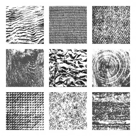 Photo for Collection of 9 square black and white brutal grunge background textures of sand, canvas, foil, wood and stone - Royalty Free Image