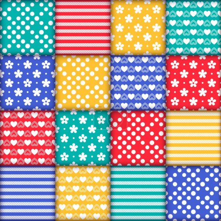 Illustration for Bright colorful seamless pattern as patchwork quilt with white flowers, stripes, hearts and dots on the green, red, yellow and blue background - Royalty Free Image