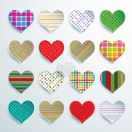 Big set of 16 colorful scrapbook hearts