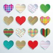 Big set of 16 colorful scrapbook hearts of checkered polka dots stripes