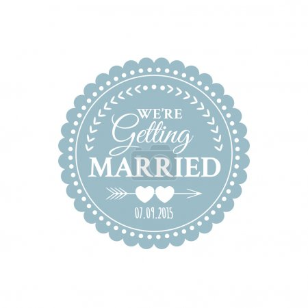Illustration for Classic wedding vintage badge in retro design with hearts and arrows - Royalty Free Image