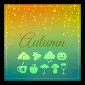 Seasons background with autumn weather holidays and themed icons