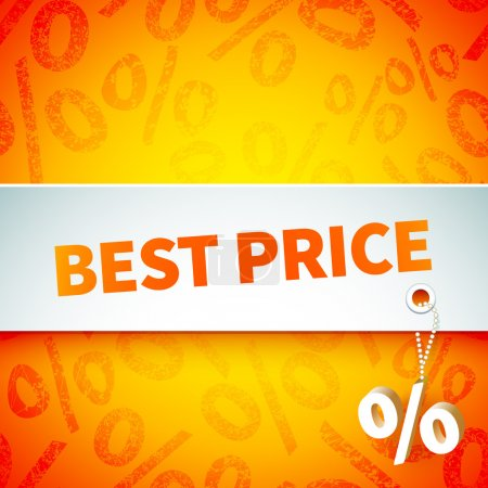 Illustration for Bright promotional banner on an orange background with a pattern of a percent sign announces the best price for your products - Royalty Free Image