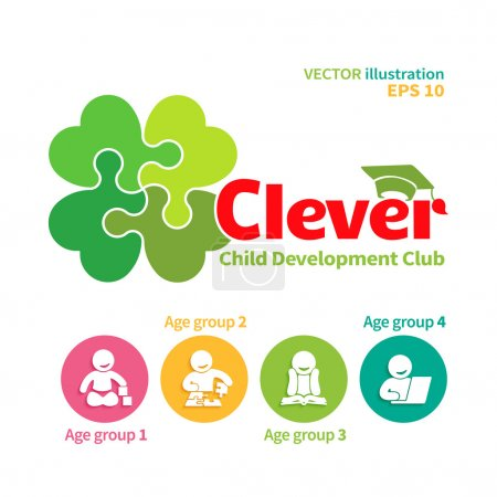 Illustration for Vector logo of child development club or educational games and four icons of intellectual  growth of the child - Royalty Free Image