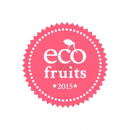 Illustration for Bright red badge in retro style for ecologically pure fruits and organic products - Royalty Free Image