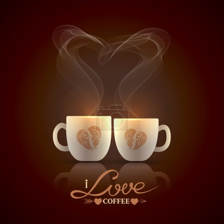 Illustration for Two cream color cups, decorated with coffee beans in the form of heart, stand together with fragrant steam in the form of heart on a dark brown background - Royalty Free Image
