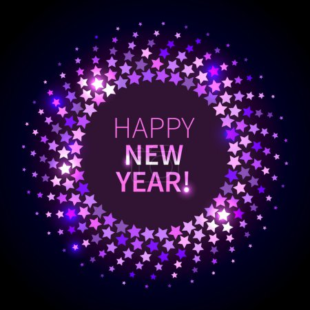 Illustration for Happy New Year background. Violet shining round frame in the disco style - Royalty Free Image