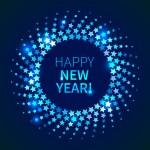 Happy New Year background. Blue shining round fram...