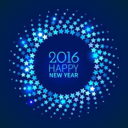 Illustration pour Nouvel An 2016 fond. Cadre rond brillant bleu avec étoiles dans le style disco - image libre de droit