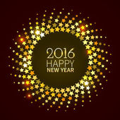 New Year 2016 background Gold shining round frame with stars in the disco style