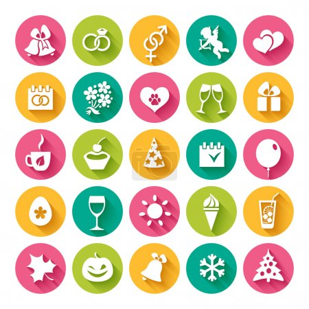 Set of 25 flat icons for  holidays