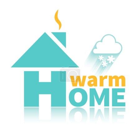 Illustration pour Logo de la maison chaude. Maison chaude par tous les temps - image libre de droit