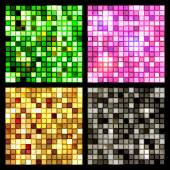 Bright shiny seamless mirror mosaics of square tiles of green pink gold and black glittering glass