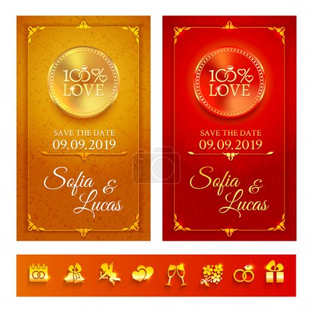 Illustration for Collection of 2 bright gold and red invitation with set of golden wedding symbols - Royalty Free Image
