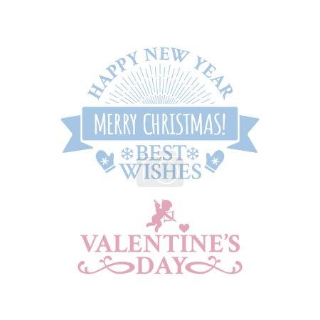Illustration pour Insigne de vintage classique en design rétro pour Noël et nouvel an avec ruban et sunburst sur le fond bleu avec des chutes de neige - image libre de droit