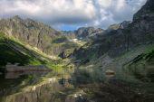 Beautiful lake reflecting surrounding mountains