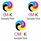 A set of logos on the theme of color model cmyk