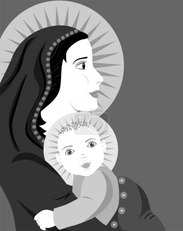 Mother and child  icon black
