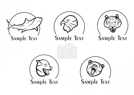 Illustration for The illustration - set of logos - with different wild animals. - Royalty Free Image