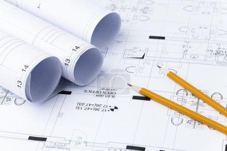 Pencils on blueprint..architecture blueprints, building plans