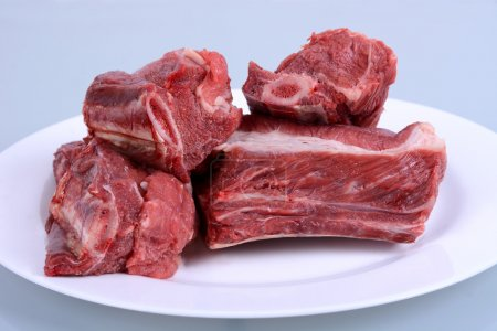 Raw Beef Ribs on Plate