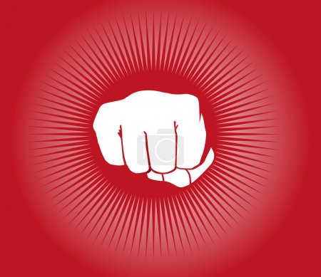 Fist icon on red