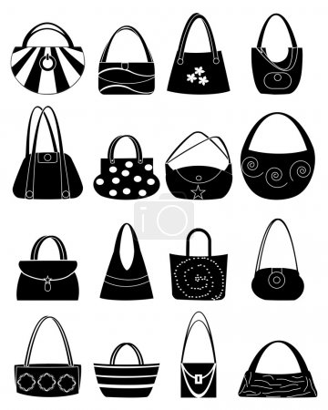 Handbag icons set