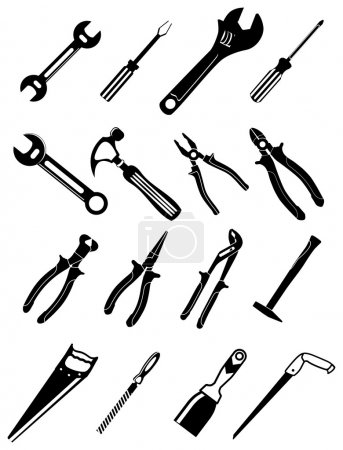Illustration for Tools vector icons set in black - Royalty Free Image